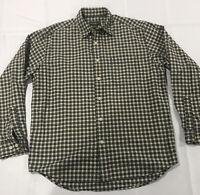 EDDIE BAUER Men's Medium M Black Tan Plaid Flannel Long Sleeve Button Up  Shirt