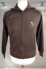"Original Vintage 1970s Retro Old School OG TRACKSUIT TOP Brown & Gold 40"" Chest"