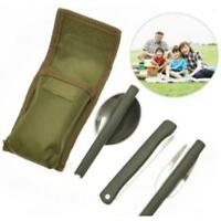 Stainless Steel Folding Cutlery Set Blade Fork Spoon Camping Hiking Utensil Y