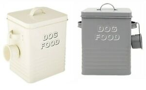 CAT FOOD DOG FOOD ANIMAL FOOD STORAGE TIN BOX WITH LID CONTAINER CANISTER GREY