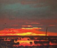 24x20 Red Sky Twilight Marsh Impressionism wetlands Landscape Art Oil Painting