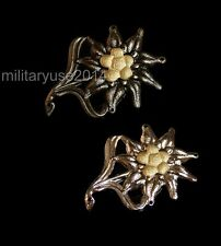 2PCS WWII WW2 GERMAN EM EDELWEISS MOUNTAIN CAP CLASSIC MILITARY BADGE MEDAL