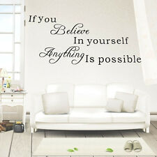 If You Believe in Yourself Quote Inspirational Art Wall Sticker Decals Removable