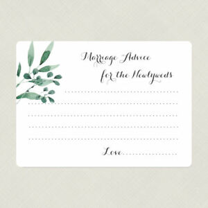 Marriage Advice Cards, Marriage Wish Cards, Greenery Bridal Shower Game Cards