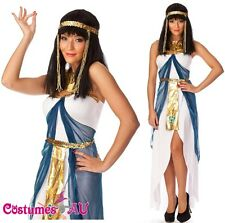 Ladies Cleopatra Egyptian Goddess Fancy Dress Halloween Costume & Headband