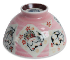Mino ware Japanese Pottery Rice Bowl Manekineko Koban Cat Pink made in Japan New