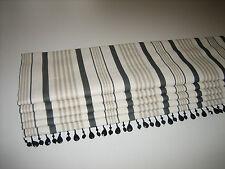 NEW Clarke & Clarke Sable Stripe Linen Fabric Charcoal Interlined Roman Blind