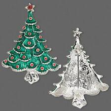 Christmas Tree Brooch Pin Holiday Silver Jewelry
