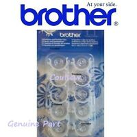 Genuine BROTHER SEWING MACHINE BOBBINS x10 with CLIPS Size 11.5 Deep BOBBIN CLIP