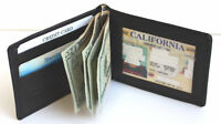 MEN GENUINE LEATHER SPRING MONEY CLIP MENS WALLET BIFOLD ID Credit 4+ Card Slim