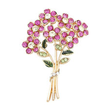 Large Gold Plated Enamel Crystal Blooming Flower Brooch Pin Women Wedding Party
