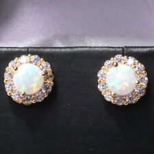 14K Gold Plated 2 Ct Round White Fire Opal Halo Earrings Women Jewelry Gift Box