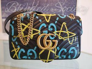 Gucci $2,690 GG Supreme Graffiti Ghost Marmont Handbag Black Leather Medium EUC