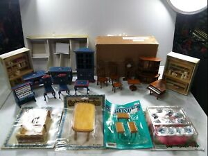 Vintage NEW miniature wooden furniture lot and accessories