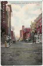 Locust Street East From 7th in Des Moines IA Postcard