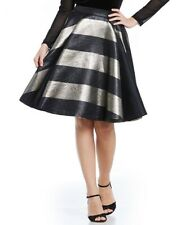 NWT Belle Badgley Mischka Womens Windy Stripe Brocade Gold Black Skirt Size 12