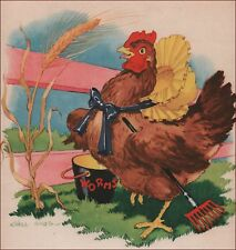 LITTLE RED HEN SCRATCHES FOR WORMS ALL DAY by Ethel Hays, Vintage Print 1942