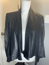 Black Leather Tissue Weight Short Drape 2 Look Jacket Sz L Lamarque Collection