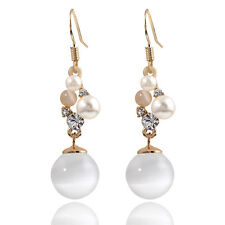 Composition of Opal Imitation Rhinestone Pearl Drop Dangle Earrings Bridal E1139
