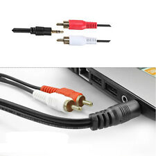 """3.5mm1/8"""" Male Stereo Mini Plug To 2 RCA Stereo Phono Audio Speaker Cable Useful"""