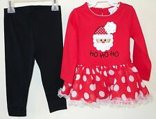 Brand New Youngland Appliqued Santa HolIday Outfit Girl's Sz 24 Month