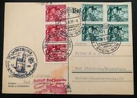 1939 Frankfurt Germany Graf Zeppelin II Postcard Cover to Bad Durkheim  LZ 130