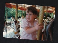 Vintage Photograph Adorable Baby Girl Riding Carousel Horse At Amusement Park