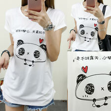 Fashion Women Girls Casual Loose Cartoon Print White T Shirt Blouse Tops Student