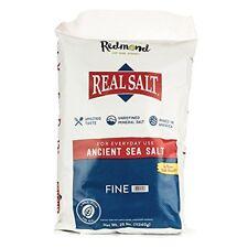 Redmond Real Salt, Nature's First Sea Salt, Fine Salt, 25 Pound Bag