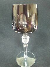 Hock Wine Glass amethyst french bohemian in style heavy crystal cut to clear