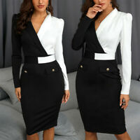 Womens Long Sleeve V-Neck Bodycon Blazer Dress Office Work Business Formal Dress