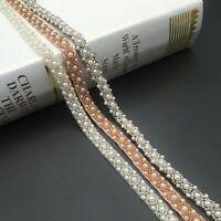 Handmade Beads Lace Trim White Black Ribbon Wedding Dress Sewing Accessories