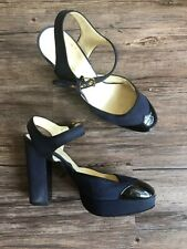 dda0a230f73 Miu Miu Womens Top Strap Block Heel Platform Pumps Blue Size 40 Black Toe  Round