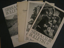 Lot of Four 1950s Sierra Club Bulletins Small Newsletter Type 1950, 1951, 1952