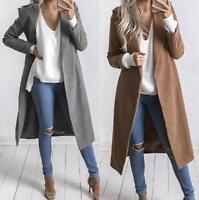 Women Winter Warm Slim Wool Lapel Long Coat Trench Parka Outwear Overcoat NG