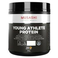 MUSASHI Young Athlete Protein Powder 360g Choose Choc OR Vanilla Malt Flavour