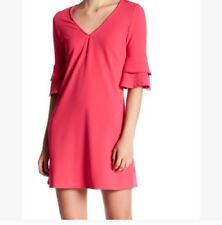 The Vanity Room V-Neck Ruffle pink XL Tiered Bell Sleeves Shift Dress $108 NWT!