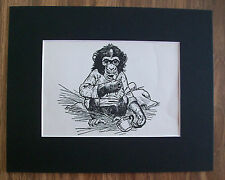 Baby Chimpanzee Print Winifred Austen 1935 Monkey Bookplate 8x10 Matted Adorable