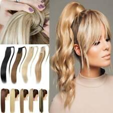 "15-22"" Long Wavy Wrap Around Ponytail Extension100% Remy Human Hair Ponytail 80g"