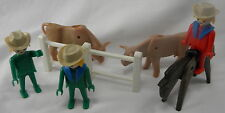 Vintage Lot of 7 Geobra Playmobil Toy Horse Steer Cowboy 1974 Movable Heads