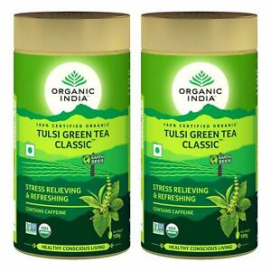 2 Pack x 100 gm Organic India Classic Tulsi Green Tea - Free Shipping