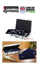 NEW Lockable Aluminium Coin Case With 5 Trays For 205 Coins Up To 45mm 2 Keys