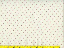 Small Pink Flower Buds on White Flowers Quilting Fabric by Yard #774