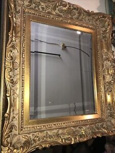 """Stunning Ornate Gold Solid Wood """"24x28"""" Rectangle Beveled Framed Wall Mirror"""