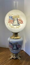 Antique Gone with the Wind Parlor Lamp - Liberty Bell Usa Colonial America Flag