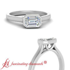 Bezel Set 0.50 Carat Emerald Cut Diamond Solitaire Engagement Ring In Platinum