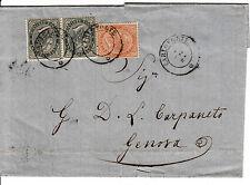CARLOFORTE 2.4.1865-due 5 cent+10 cent(16+17)-Lettera per Genova