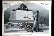 Decoration Day 1888 NATIONS DEAD HEROES TOMBSTONE MEMORIAL Large Engraving