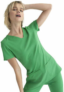 "HeartSoul Scrubs #20710 V-Neck Detailed Scrub Top in ""Kelly Green"" Size XS"