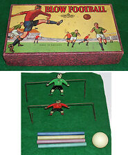 Vintage English Blow Football Game with Tin Litho Goalies England Glevum Games
